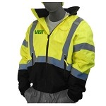 Hi-Vis Yellow/Black Bomber Jacket Quilted Liner