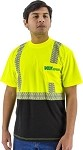 HIGH VISIBILITY SHORT SLEEVE SHIRT WITH REFLECTIVE CHAINSAW STRIPING, ANSI 2, R